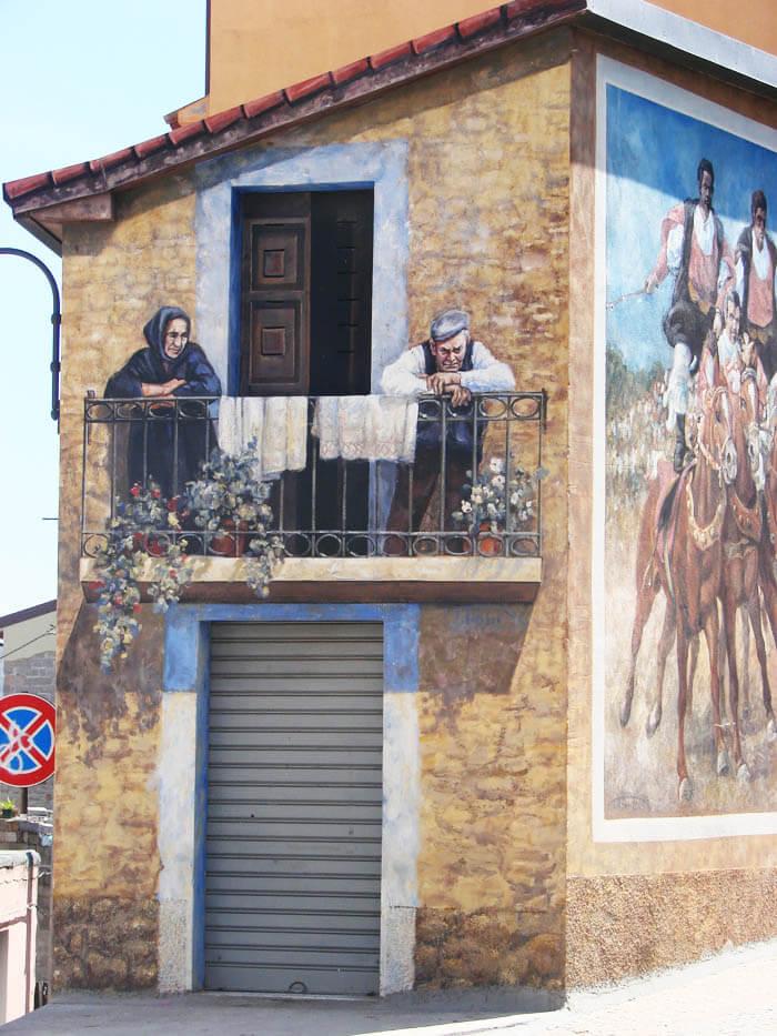 muurschildering in Fonni murales