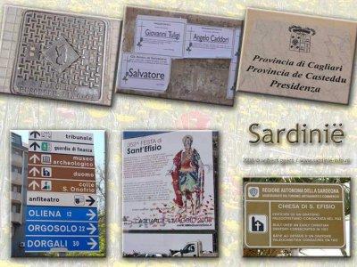 Collectie borden op Sardinië